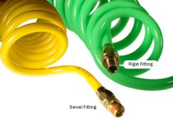 Flexcoil - Coiled Polyurethane Hose with Reusable Fittings